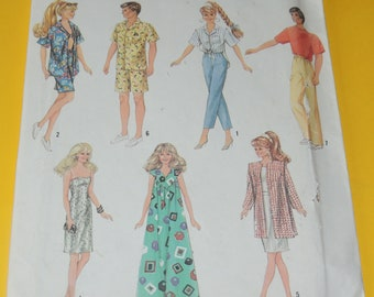 Uncut Simplicity 7270 Barbie and Ken Clothing Pattern 1991