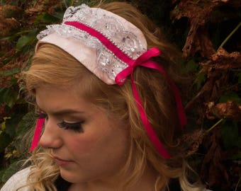 Pink Lolita Headband with Silver Lace and Bright Pink Ribbon