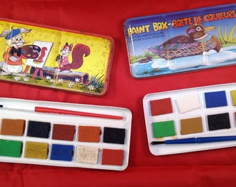 Original vintage paint box, 2 childs paint box, tin paint box, vintage tin, tin box, vintage painting, vintage duck tin,vintage rabbit tin