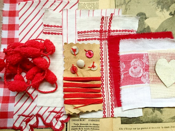Ribbons Trims Included Crazy Quilt Slow Stitching Kit White//Off White Buttons