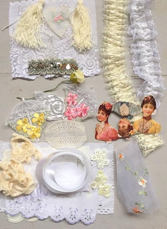 Vintage Bundles of 3 Silk Tassels Silvery White /& White French
