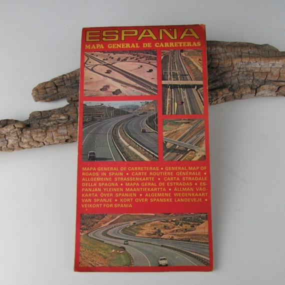 1960s Vintage Road Map Of Spain Etsy
