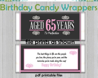 65th Birthday Party Favors Hersheys Candy Bar Wrappers Pink
