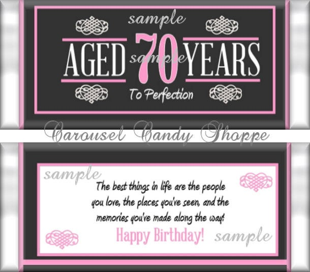 70th Birthday Party Favors Hershey S Candy Bar Wrappers Etsy