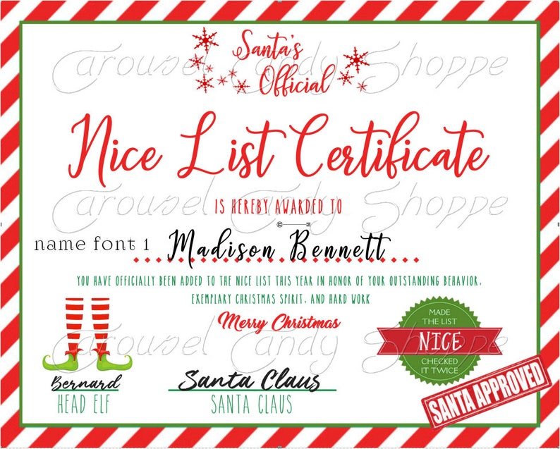 image relating to Printable Santa Nice List Certificate named Printable Santa Awesome Checklist Certification Do-it-yourself Print at Residence