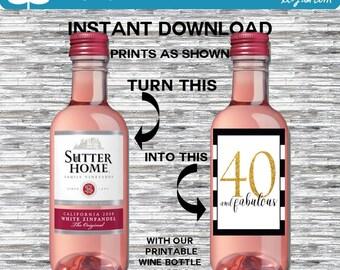 Birthday Mini Wine Bottle Labels, Customized - Black-White-Gold, Mini Bottle Labels - DIY Print, Printable PDF