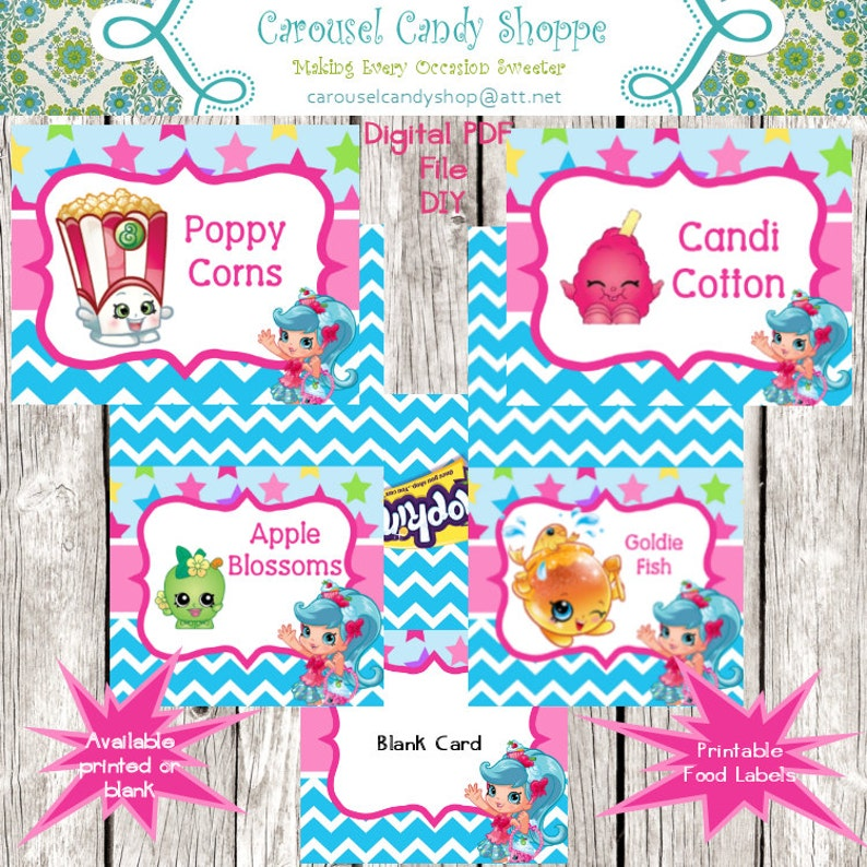 photo regarding Free Printable Shopkins Food Labels known as Shopkins Impressed Topic Food stuff Tent- Status Location Playing cards - Printable, Do-it-yourself, Electronic PDF Document 20 Plans Moreover Blank Structure