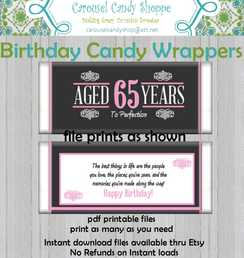 65th Birthday Party Favors Hersheys Candy Bar Wrappers