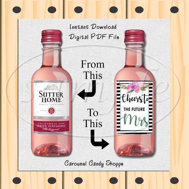 cheers to the future mrs mini wine bottle labels diy etsy