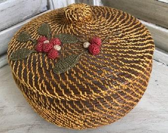 Vintage Pine Needle  Basket