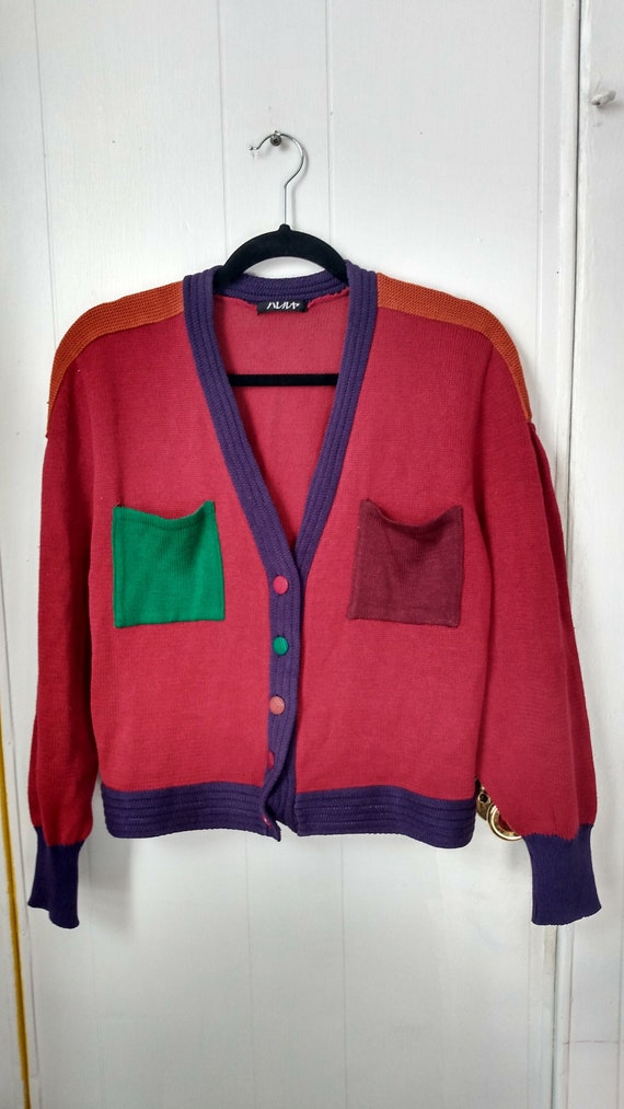 90s Color Block 90s Japanese Vintage Cardigan M