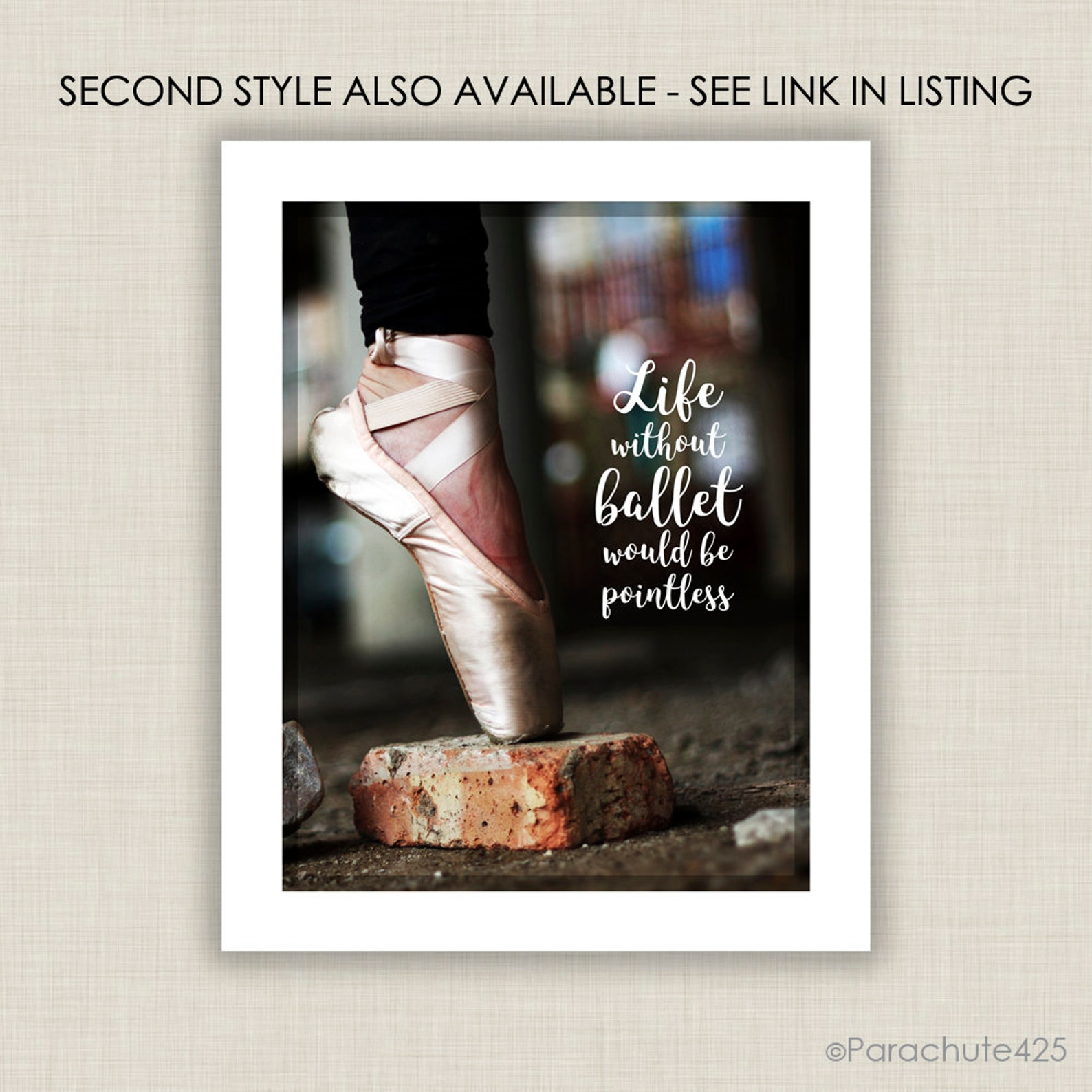 ballet wall art print, life without ballet would be pointless, black ballerinas with quote for ballet decor or gift