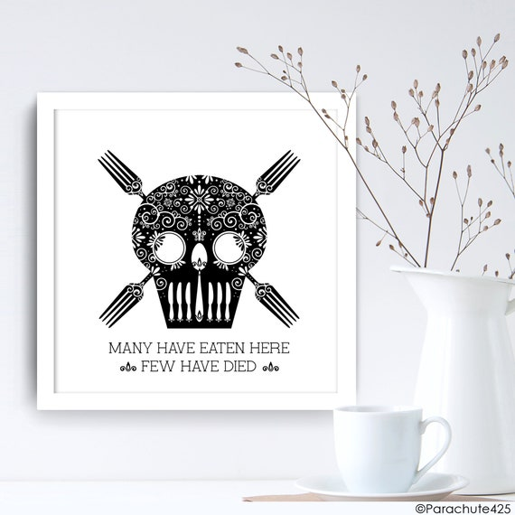 Funny Skeleton Kitchen Wall Art Black And White Kitchen Decor Dining Room Quote Print