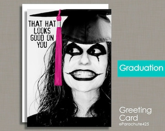 Graduation Card, funny graduation, high school grad, college graduation, weird friend card, freak graduation, weirdo graduation, goth grad