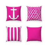 OUTDOOR Throw Pillow . Magenta Pink Outdoor Pillow . Pink Patio Cushion . Anchor . Mermaid . Stipe . Solid