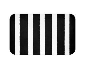 Black White Bath Rug Etsy