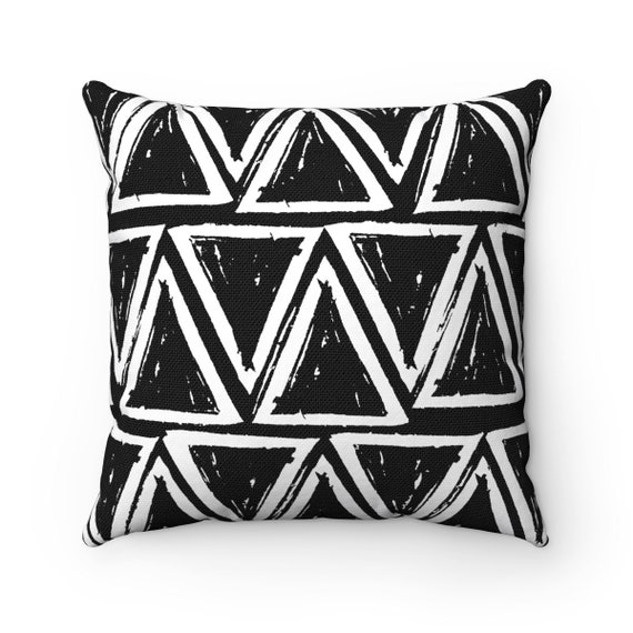OUTDOOR Throw Pillow . Black and White Outdoor Pillow . Black patio cushion . Modern Geometric Pillow Triangle . 16 18 20 inch . Rectangle