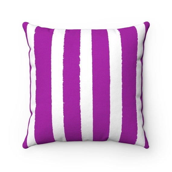 OUTDOOR Throw Pillow . Purple Outdoor Pillow . Violet Stripe patio cushion . Modern Purple Pillow . 16 18 20 inch . Purple Lumbar Pillow