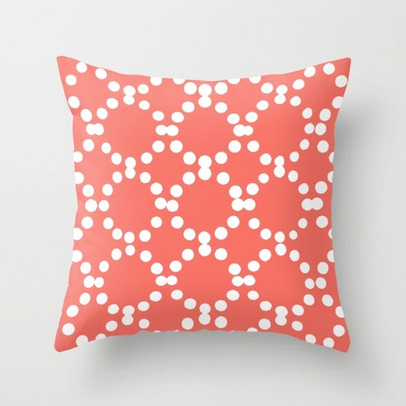 OUTDOOR Throw Pillow . Coral Outdoor Pillow . Coral patio cushion . Modern Geometric Pillow Ring Dot . 16 18 20 inch . Outside Pillow Lumbar