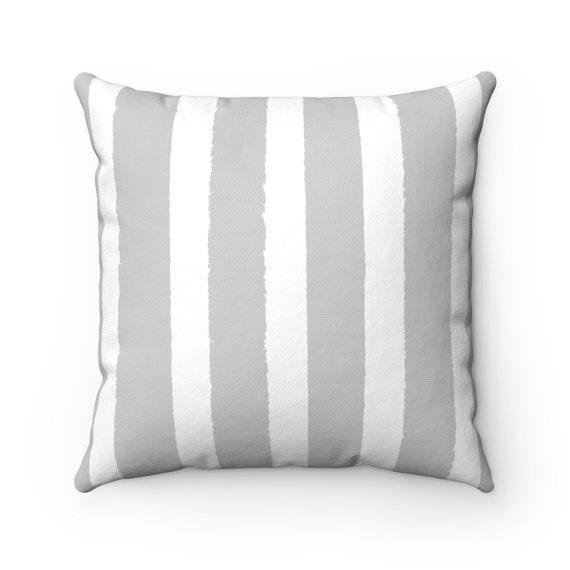 Silver Gray Striped Throw Pillow . Grey Pillow . Gray Lumbar Pillow . Gray Striped Pillow . Gray Cushion 14 16 18 20 26 inch . Silver Gray