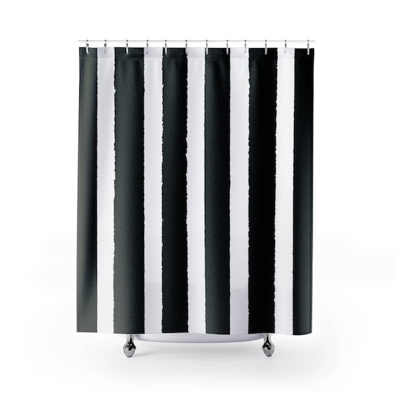 Black and White Shower Curtain - Striped Shower Curtain - Modern Shower Curtain - Shower Curtain - Striped Shower Curtain - Black and White