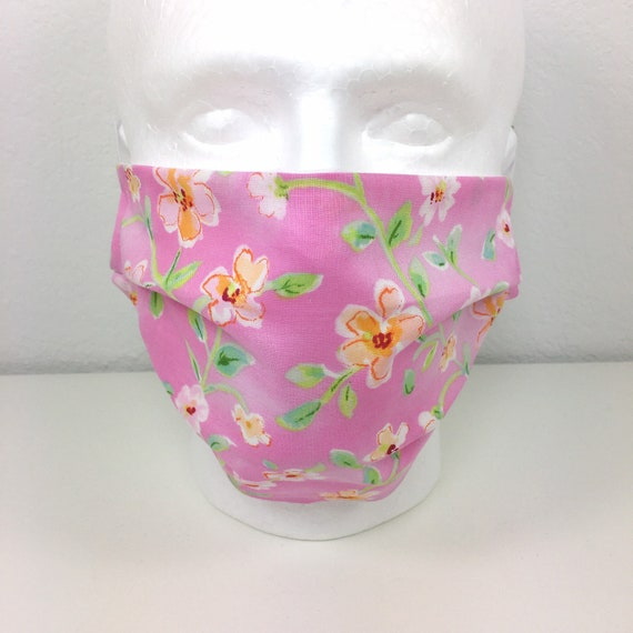 Extra Large Pink Floral Face Mask - XL Adult Adjustable Fabric Face Mask with Pocket for Filter