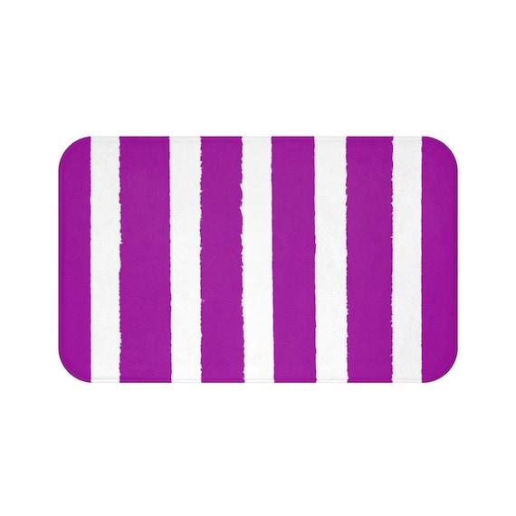 Bath Mat . Purple Bath Mat . Striped Bathroom Rug . Violet Shower Mat