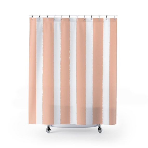 Pale Peach Shower Curtain . Apricot Striped Shower Curtain