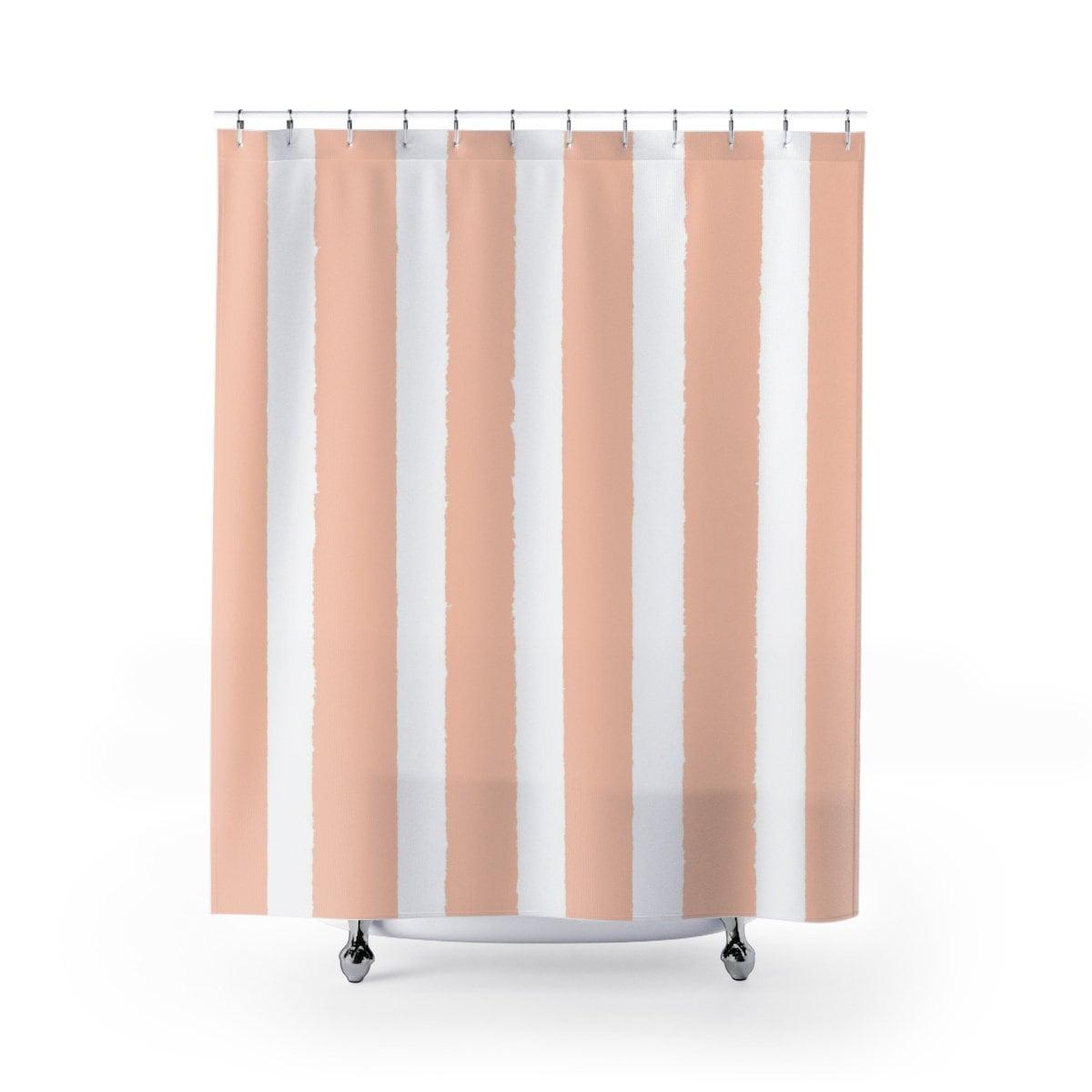 Pale Peach Shower Curtain Apricot Striped Shower Curtain