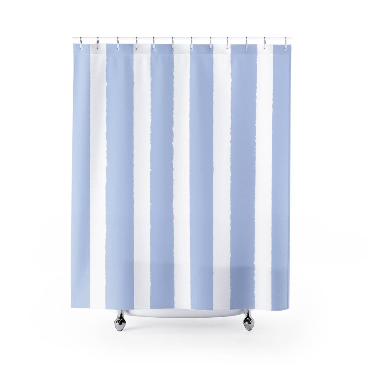 Periwinkle Shower Curtain Pale Blue Striped Shower Curtain