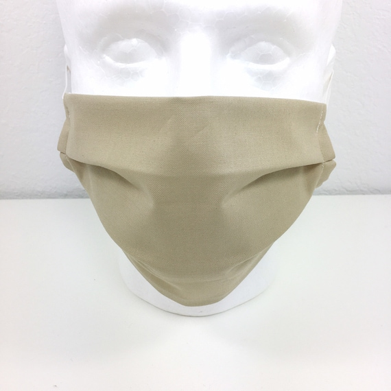Solid Tan Face Mask - Adult Adjustable Fabric Face Mask with Pocket for Filter