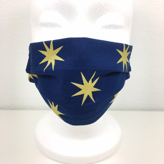 Navy Blue Gold Star Child Face Mask