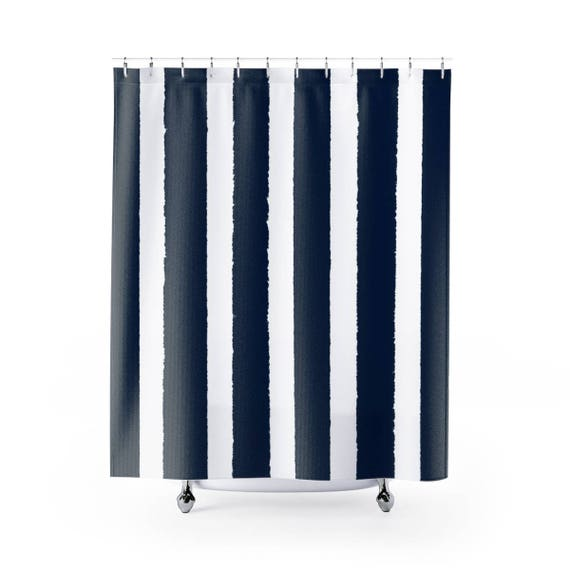 Navy Shower Curtain . Navy Blue Striped Shower Curtain