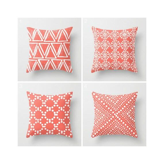 Coral Throw Pillow . Modern Throw Pillow . Salmon pillow . White Geometric triangle circle dot . Coral Cotton Throw Pillow 14 16 18 20 inch