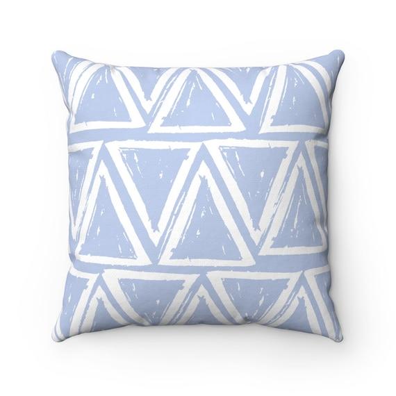 OUTDOOR Throw Pillow . Periwinkle blue Outdoor Pillow . Blue patio cushion . Modern Geometric Pillow Triangle . 16 18 20 inch Lumbar Pillow