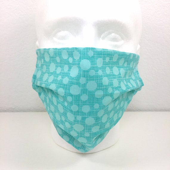 Extra Large Turquoise Face Mask - XL Adult Adjustable Fabric Face Mask with Pocket for Filte