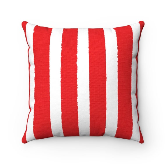 Red Striped Throw Pillow . Red Pillow . Red Lumbar Pillow . Red Striped Pillow . Red and White Cushion . Modern Red . 14 16 18 20 26 inch
