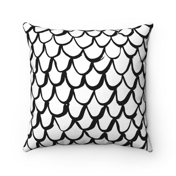 Black and White Mermaid Throw Pillow . Black and White Lumbar Pillow . White Cushion