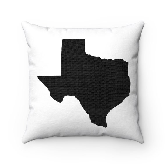 OUTDOOR Throw Pillow . Black and White Texas Outdoor Pillow . White Texas State patio cushion . 16 18 20 inch . Lumbar Pillow . Texan Pride