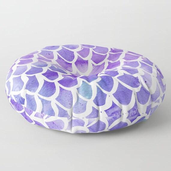 Mermaid floor cushion . Purple cushion . Mermaid Pillow . Round pillow . Floor pillow . Purple pillow . 26 inch pillow . 30 inch ottoman