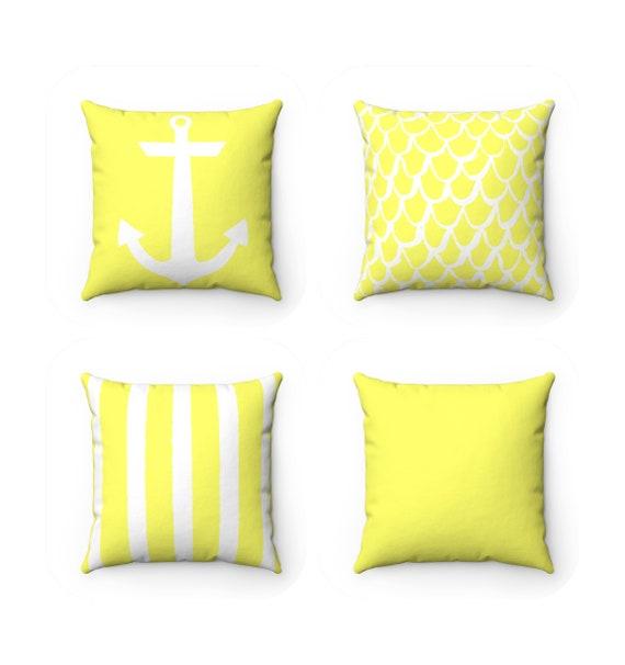 Lemon Yellow Throw Pillow . Mermaid Pillow . Anchor Pillow . Coastal Pillow . Striped Pillow . Yellow cushion  Throw 14 16 18 20 26 inch