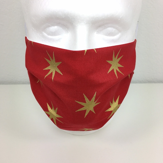 Red Star Extra Large Face Mask - XL Adult Adjustable Fabric Face Mask with Pocket for Filter