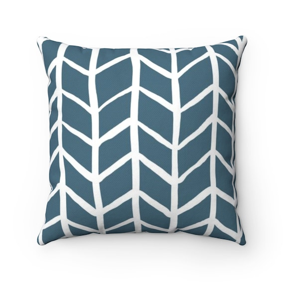OUTDOOR Throw Pillow . Teal Outdoor Pillow . Teal Herringbone Patio Cushion