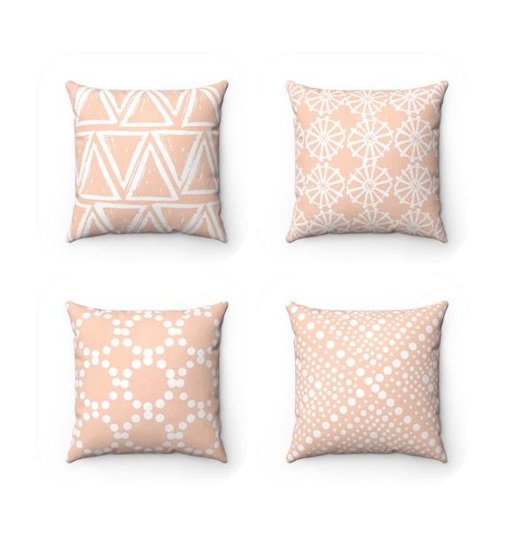 Pale Peach Throw Pillow . Modern Throw Pillow . Peach pillow . Geometric triangle dot . Peach Throw Pillow 14 16 18 20 26 inch . Salmon