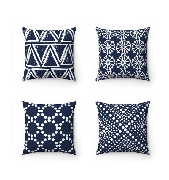 OUTDOOR Throw Pillow . Navy Outdoor Pillow . Navy blue pillow . Navy Patio Cushion . Throw Pillow 16 18 20 inch . Navy blue Lumbar Pillow