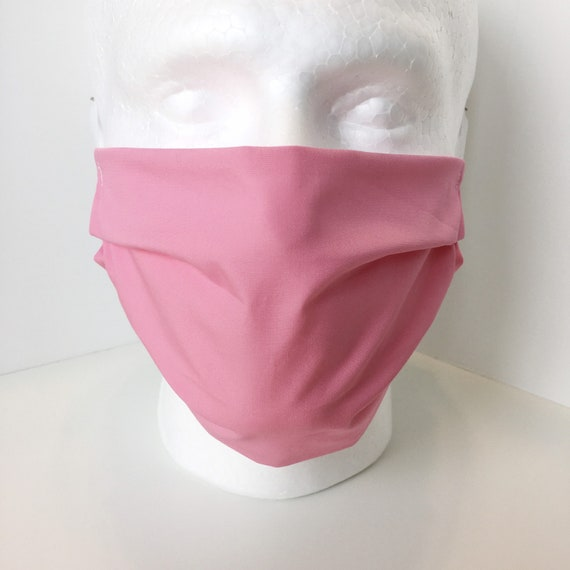 Solid Pink Face Mask - Child over 10 - Tween - Teen - Adult Face Mask - Adjustable Fabric Face Mask with Filter Pocket