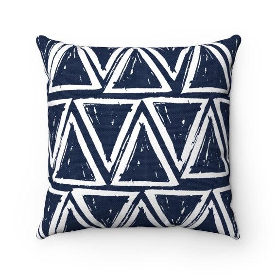 OUTDOOR Throw Pillow . Navy blue Outdoor Pillow . Navy patio cushion . Modern Geometric Pillow Triangle . 16 18 20 inch . Lumbar Pillow