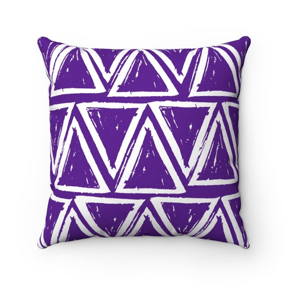 OUTDOOR Throw Pillow . Violet Outdoor Pillow . Purple patio cushion . Modern Geometric Pillow Triangle . 16 18 20 inch . Lumbar Pillow