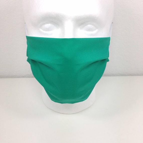 Emerald Solid Green Face Mask - Adult Adjustable Fabric Face Mask with Pocket for Filter