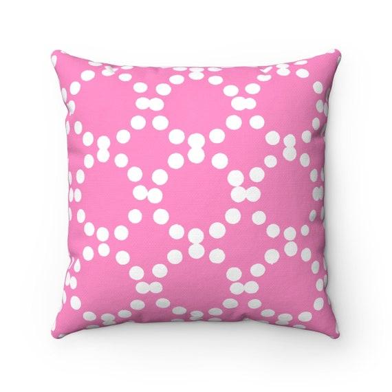 OUTDOOR Throw Pillow . Pink Outdoor Pillow . Pink patio cushion . Modern Geometric Pillow Ring Dot . 16 18 20 inch . Pink Lumbar Pillow